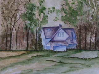 A cottage in a Jungle- Water color Painting by Sudeep Gupta