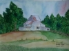 A cottage landscape in watercolor