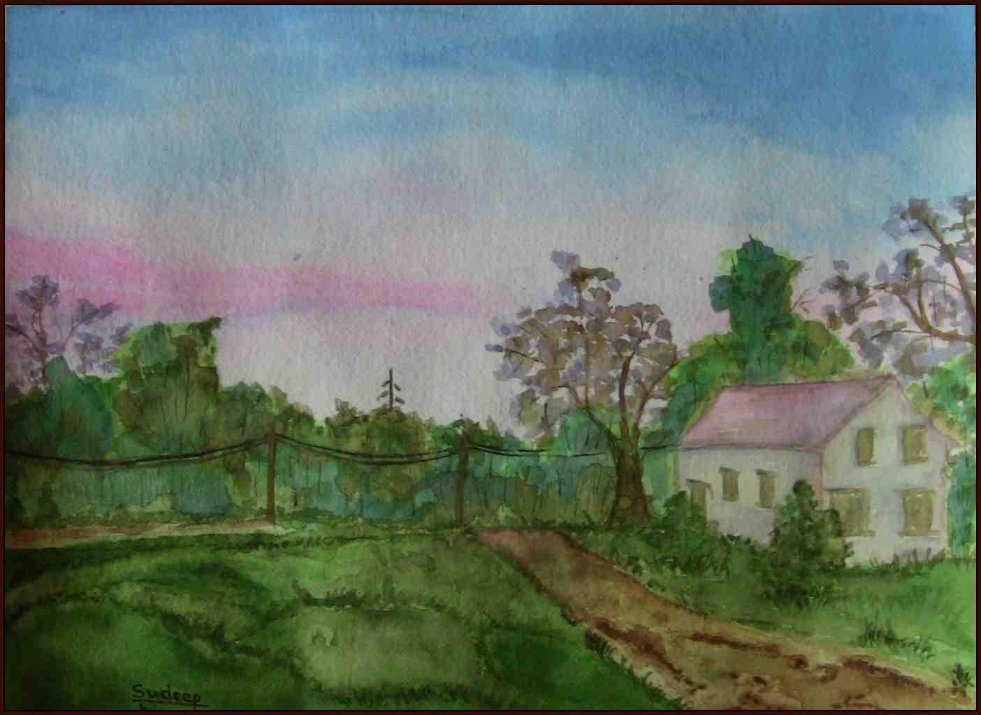 Landscape in watercolor