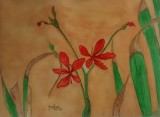 "Red Flowers in watercolor on 300 GSM paper of size 9"" x 12"""