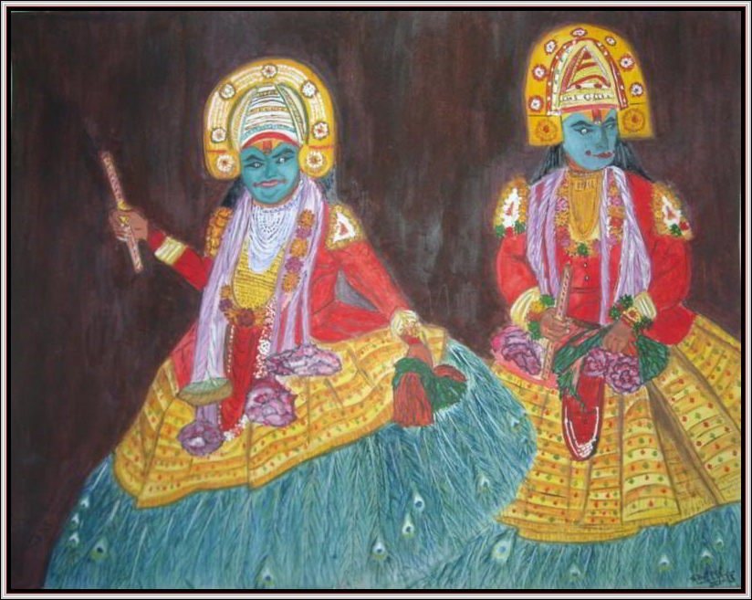 Kathakalli-Dancers in Watercolor