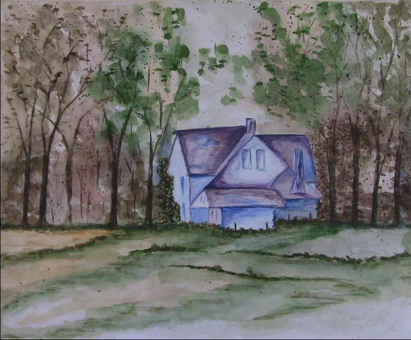 A cottage in a Jungle Water color Painting-by-Sudeep-Gupta